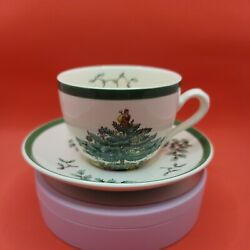 Spode Christmas Tree Tea Cup And Saucer S3324 Made In England Older Set
