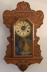 Antique Working 1800and039s Ingraham Carved Oak Gingerbread Parlor Kitchen Wall Clock