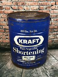 Vintage Kraft Blue Pure Vegetable Shortening Tin Container Can Huge 20 110 Lbs.