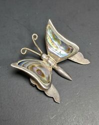 Vintage Taxco Mexico Sterling Silver 925 Abalone Butterfly Pin Brooch