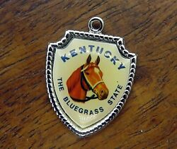 Vintage Silver Kentucky The Blue Grass State Horse Race Travel Shield Charm 8-7