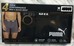 NEW MENS quot;PUMA LARGE LIMITED EDITION MODERN LUXE BOXER BRIEFS 4 PACK UNDERWEARquot;