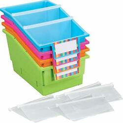 Really Good Stuff Large Plastic Labeled Book And Organizer Bin For Classroom ...