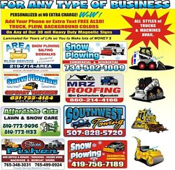 2 Magnetic Full Color Custom Signs Snow Plowing, Landscaping, Construction Signs