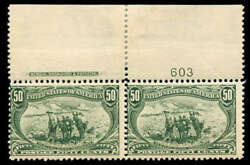 Momen Us Stamps 291 Mint Og Nh Imprint And Plate Pair