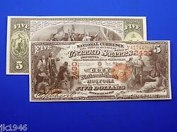 Reproduction 5 1875 National Bank Note Us Paper Money Currency Copy