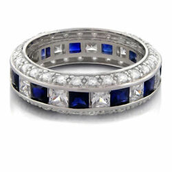 2.50 Ct Blue Sapphire And Diamond Eternity Ring Princess Cut And Pave Wedding Ring