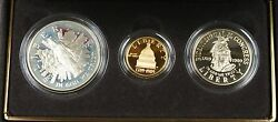 1989 Congressional Commemorative 3 Coin Proof Set, Gold And Silver Ogp