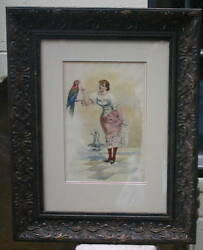 Joseph Villeclere 19 C French Fine Water color Girl & Parrot Painting