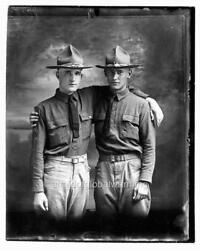 Photo 1918 World War 1 Two Soldiers In Uniform
