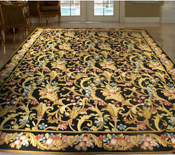 Traditional Victorian Style Rug 9x12 Needlepoint