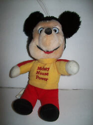 Vintage Knickerbocker Mickey Mouse Power Plush Doll 11 Tall Gold Shirt Red Pant