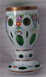Bohemian Emerald And Opal Glass Gilded, Enameled Wine Goblet