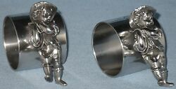 Antique Collectible Sp Novelty Napkin Holders Figural Etched Papa Mama Pair