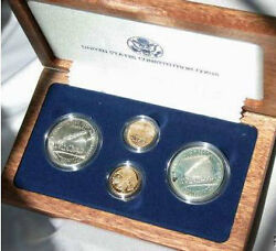 1987 Constitution 4 Coin Set Gold And Silver Both Proof And Unc In Box With Coa