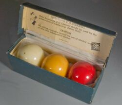 Vintage/antique 2-3/8 Brunswick Bbc Centennial Carom Billiard Set W Box B-6