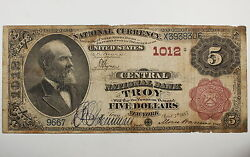 Series 1882 5 National Currency Note Central National Bank Troy Ny Ch. 1012