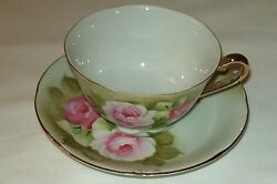 Beautiful Lefton Hand Painted Cup And Saucer With Silver Logo And Sticker