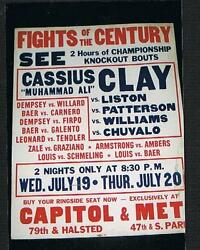 Extremly Rare 1967 Cassius Clay Boxing Poster Muhammad Ali Sonny Liston