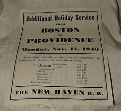1940 New Haven Railroad Broadside Veterans Day Extra Trains Boston To Providence