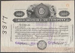 Reo Motor Car Co. Stock Proof Cert. Founded By Ransom E. Olds In 1904 Bn7000