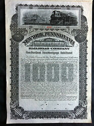 Ny Pennsylvania And S. Western Railroad Co. Gold Bond Specimen W/ Coupon Pahv71