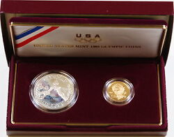 1988-w Proof Olympic Commemorative 2 Coin Set 5 Gold And Silver 1 Dollar Ogp