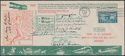25th Anniv. Wright Bros Cover Signed By 13 Dignitaries Includes H. Leslie Hv1467