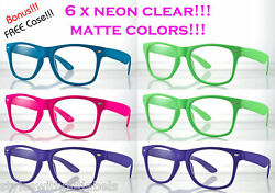 6 PAIRS MATTE NEON COLORS Hipster Clear Lens Nerd Glasses 80s RETRO PARTY PACK