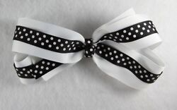 Personalized Embroidered White And Black Polka Dots Grosgrain Girl Hair Bow