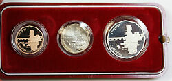 1988 Israel Caesarea 3 Coin Set Silver And Gold Proofs + Bu 1/2 1 5 Sheqalim