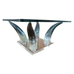 Mid Century Modern Chic 70's Lucite And Horn Coffe Table