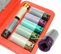 7pc 1 2quot; Dr Thin Wall Torque Socket Set SAE Wimagnetic amp; Protective Sleeve