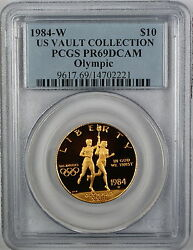 1984-w 10 Olympic Gold Commemorative Pcgs Pr-69 Deep Cameo Us Vault Collection