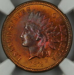 1872 Indian Cent Penny Ngc Unc Details Very Choice Bu Toned Dgh