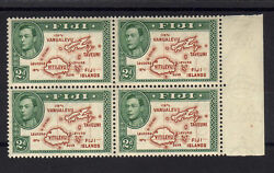 Fiji 1938 2d Brown And Green Die I In Block Of Four Sg 253 Mnh.