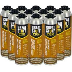 Dow Great Stuff Pro Wall and Floor Adhesive 26.5 oz Gun Foam Case of 12