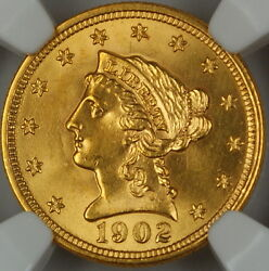 1902 Liberty 2.50 Quarter Eagle Gold Coin, Ngc Unc Details Improperly Cleaned