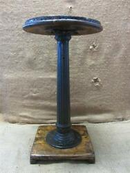 Vintage 1800s Cast Iron And Wood Stool Antique Table Stand Old Chair Rare 7362