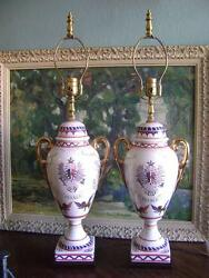 PORCELAIN FRENCH VINTAGE LAMPS FRANCE HAND PAINTED URN