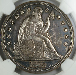 1869 Seated Liberty Silver Dollar Ngc Proof Details Obverse Damage