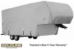 Goldline Premium Rv Trailer 5th Wheel Cover Fits 32 To 34 Foot Grey