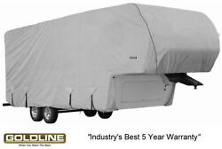 Goldline Premium Rv Trailer 5th Wheel Cover Fits 34 To 36 Foot Color Grey