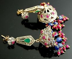 Antique Collector's Aaa Top Emerald Ruby Sapphire Diamond Victorain Earrings