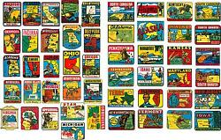 50 State Vintage Style Travel Decals / Vinyl Stickers, Luggage Labels 2 Inch@
