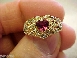 Quality 14k Gold Trilliant Pink Tourmaline And Diamond Ring Size 7 Make Offer