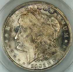 1921 Silver Morgan Dollar Coin Anacs Ms-62 Infreq Reeded Top 100 Toned Jt