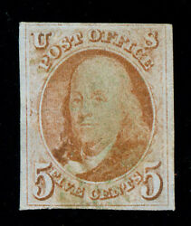 Momen Us Stamps 1 Used Scarce Green Cancel Vf