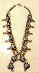 Vintage Squash Blossom Necklace Sleeping Beauty Turquoise One Of A Kind