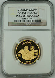 1979 Bolivia 4000 Pesos Gold Coin Ngc Pf-69 Uc Year Of The Child Km199